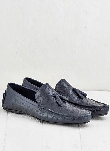 Elle %100 Deri Loafer Ayakkabı Lacivert